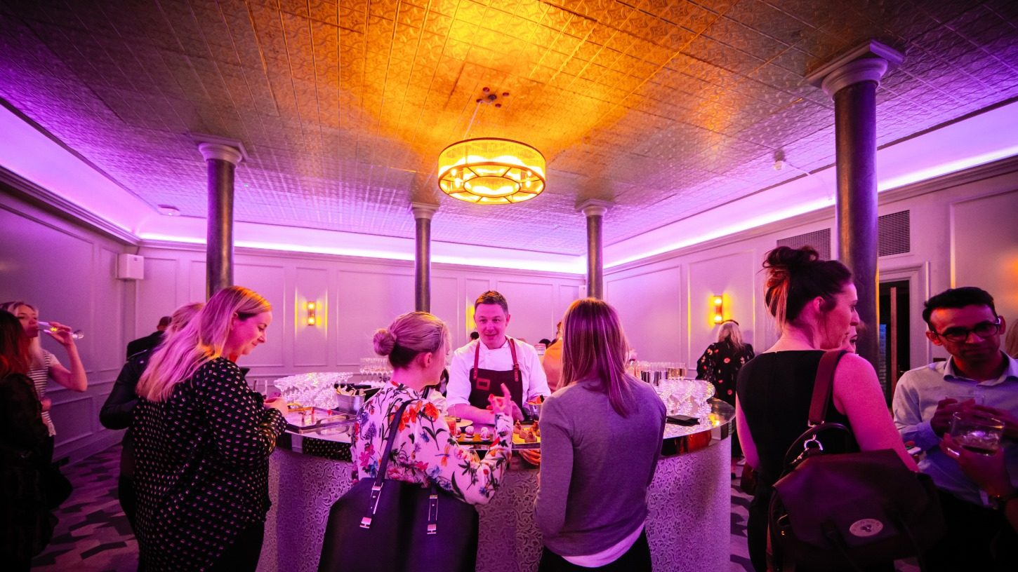 Canapés and Drinks being served inside Grubstreet Author in London