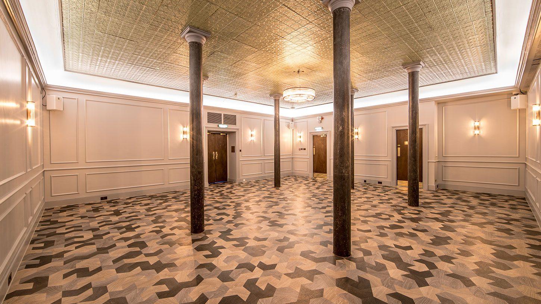 The striking herringbone floor at the Grubstreet Author