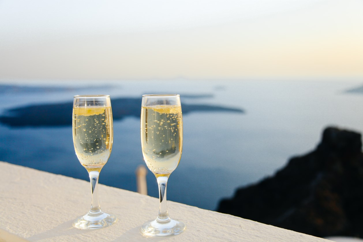 Champagne on a birthday trip abroad