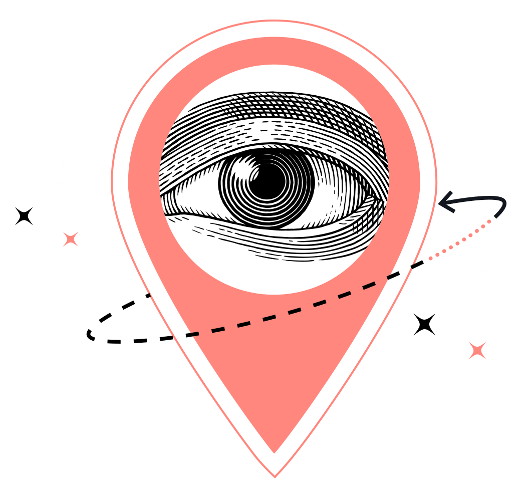 Sparkling GPS Location Pin with Eye Artwork