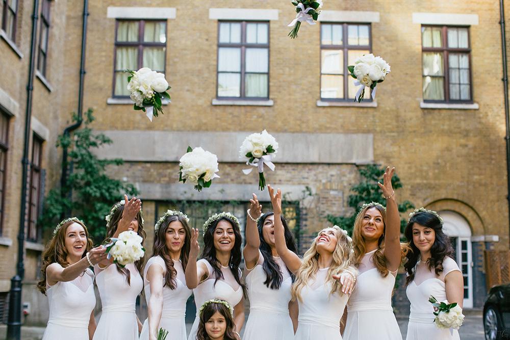 Bridesmaids at an intimate wedding