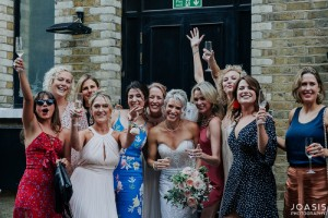 Ladies celebrating in a small wedding party